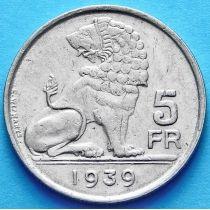 Бельгия 5 франков 1939 год. 'BELGIE-BELGIQUE'