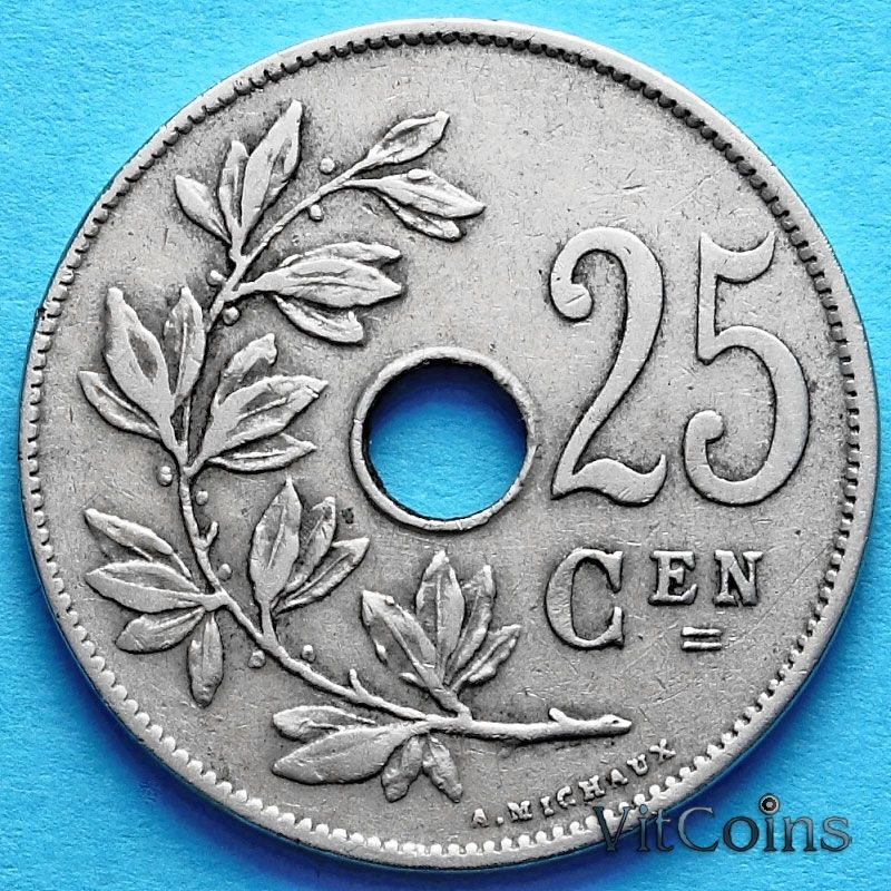 Монета Бельгии 25 сантим 1928 год. Фламандский вариант
