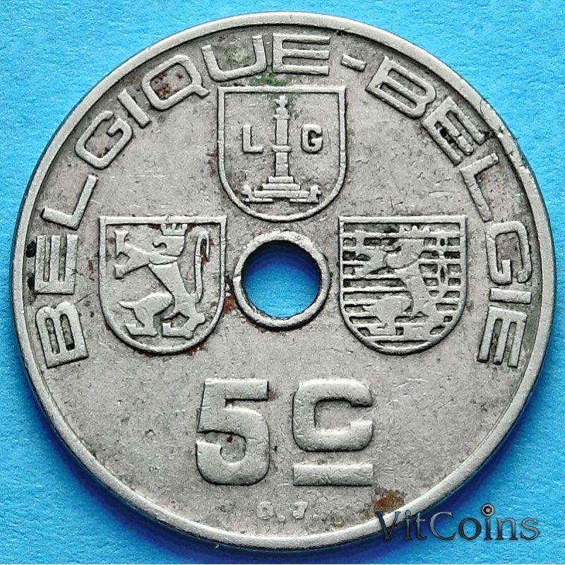 Монета Бельгии 5 сантим 1938 год. 'BELGIQUE - BELGIE'.