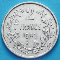 Бельгия 2 франка 1909 год. Серебро. Французский вариант.