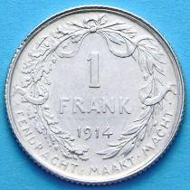 Бельгия 1 франк 1914. Фламандский вариант. Серебро