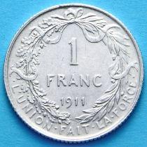 Бельгия 1 франк 1911 г. Французский вариант. Серебро
