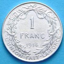 Бельгия 1 франк 1914 г. Французский вариант. Серебро