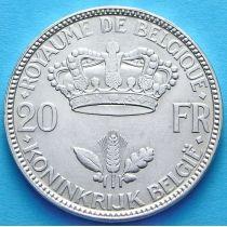 Бельгия 20 франков 1935. Французский вариант. Серебро