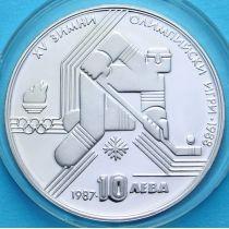 Болгария 10 левов 1987 год. Хоккей. Серебро.