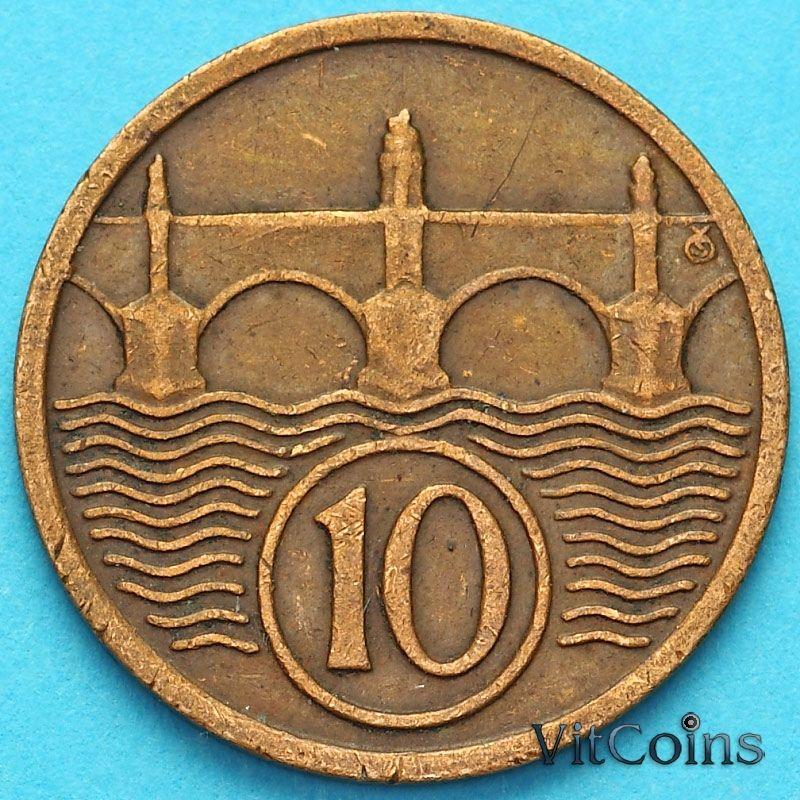 Монета Чехословакия 10 геллеров 1923 год.