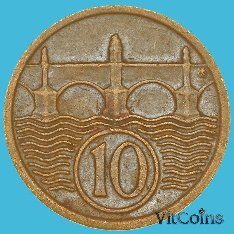 Монета Чехословакия 10 геллеров 1922 год.