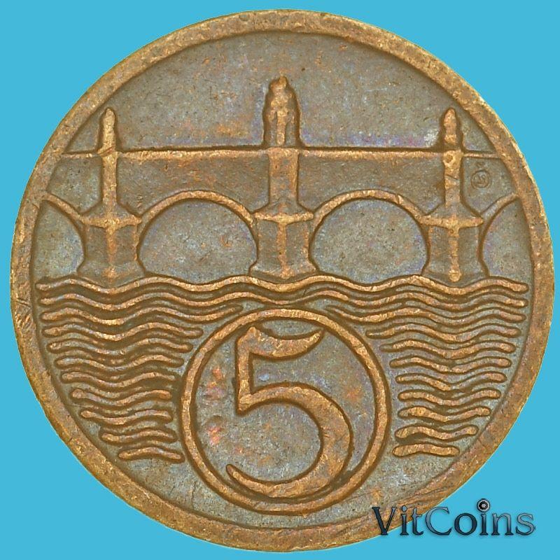 Монета Чехословакия 5 геллеров 1923-1938 год.