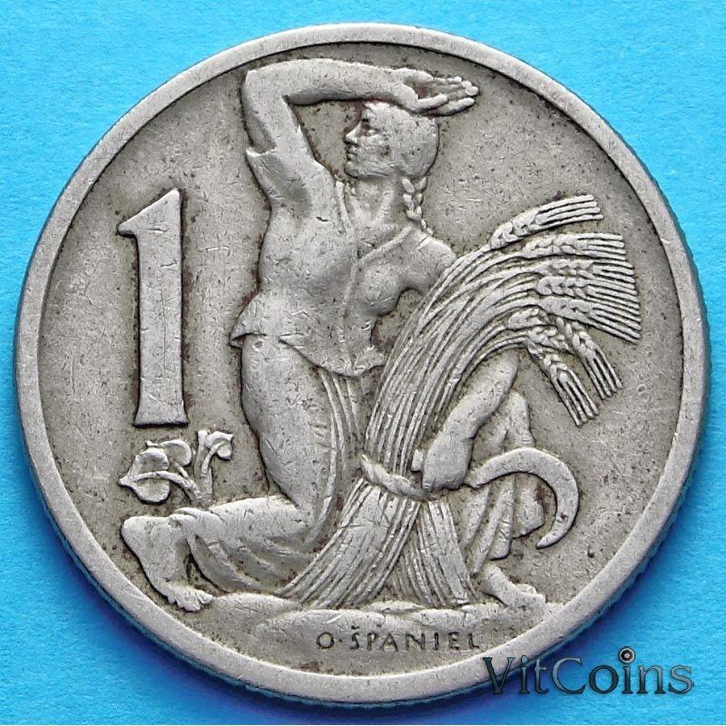 Монета Чехословакии 1 крона 1922-1924 год.