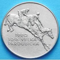 Чехословакия 100 крон 1990 год. 100 лет Скачкам в Пардубице. Серебро