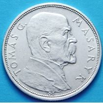 Чехословакия 10 крон 1928 год. Президент Масарик. Серебро.