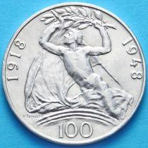 Чехословакия 100 крон 1948 г. 30 лет независимости. Серебро