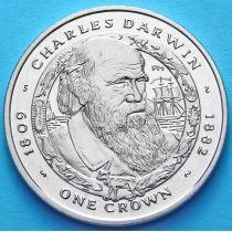 Фолклендские острова 1 крона 2007 г. Чарльз Дарвин
