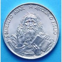 Сан Марино 1000 лир 1980 г. Св. Бенедикт Нурсийский. Серебро