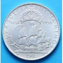 Швеция 2 кроны 1938 г. Делавер, серебро