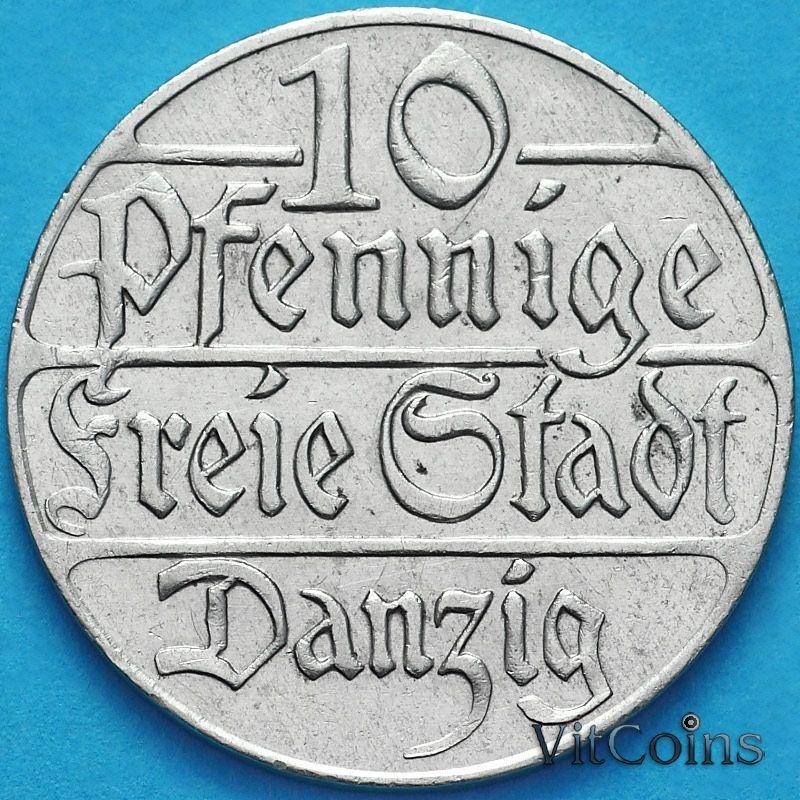Монета Данциг 10 пфеннигов 1923 год. №1