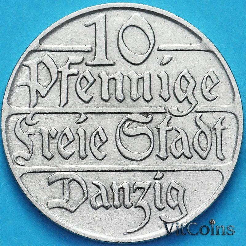 Монета Данциг 10 пфеннигов 1923 год. №2