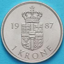 Дания 1 крона 1987 год.