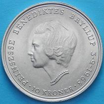 Дания 10 крон 1968 год. Свадьба Принцессы Бенедикты. Серебро.