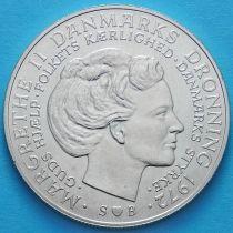 Дания 10 крон 1972 год. Фредерик IX и Маргрете II. Серебро.