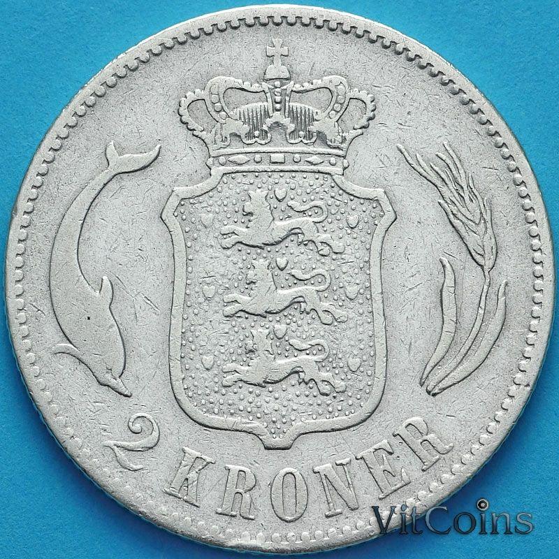 Монета Дания 2 кроны 1876 год. Серебро.