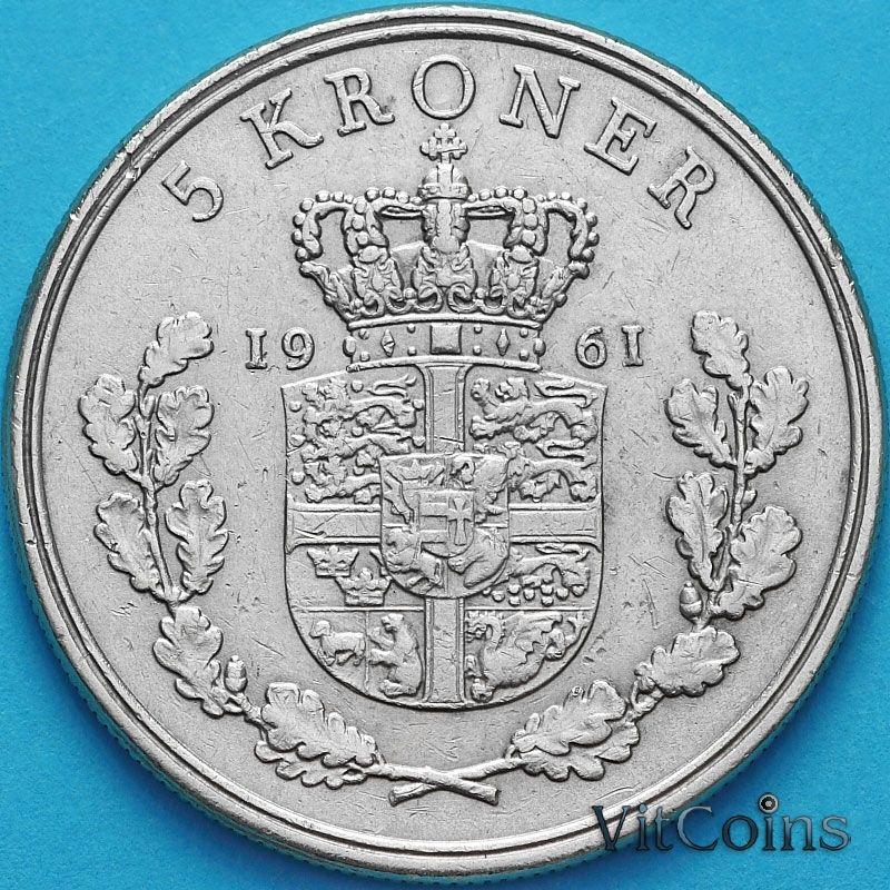 Монета Дания 5 крон 1961 год.
