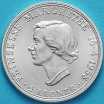Дания 2 кроны 1958 год. Принцесса Маргрете. Серебро.