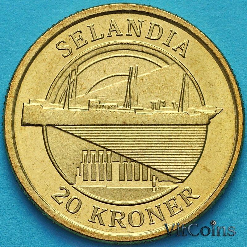 Монета Дания 20 крон 2008 год. Корабль Зеландия.