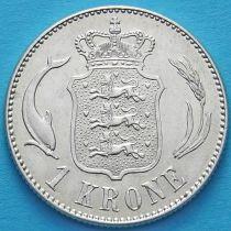 Дания 1 крона 1916 год. Серебро.