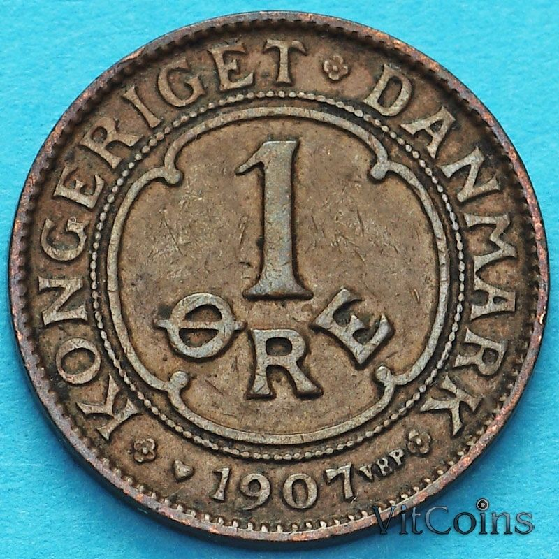Монета Дания 1 эре 1907 год.