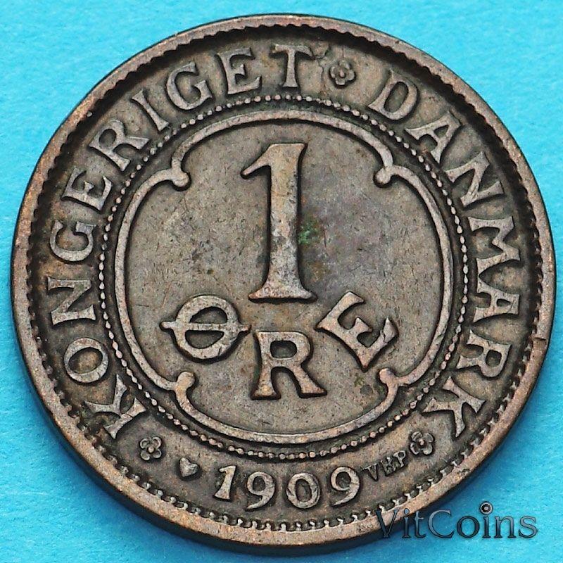 Монета Дания 1 эре 1909 год.