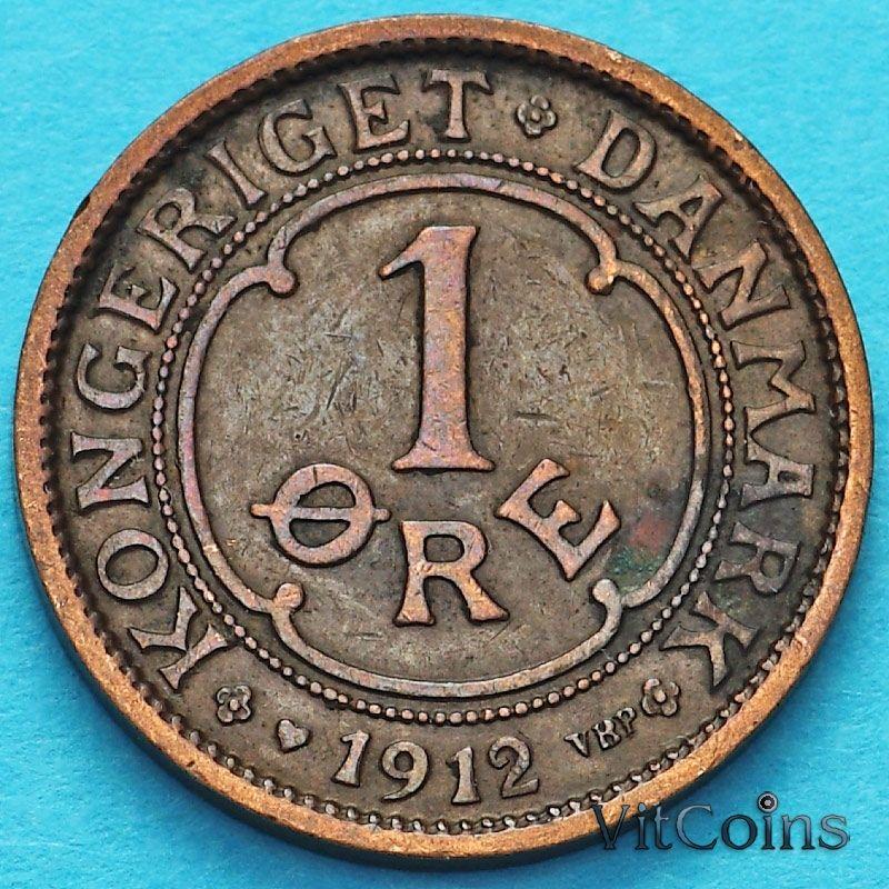 Монета Дания 1 эре 1912 год.