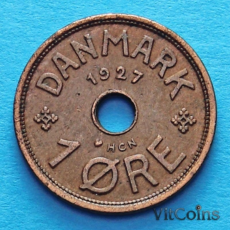 Монета Дании 1 эре 1927-1939 год.