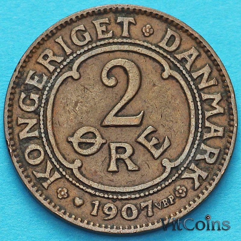 Монета Дания 2 эре 1907 год. VBP