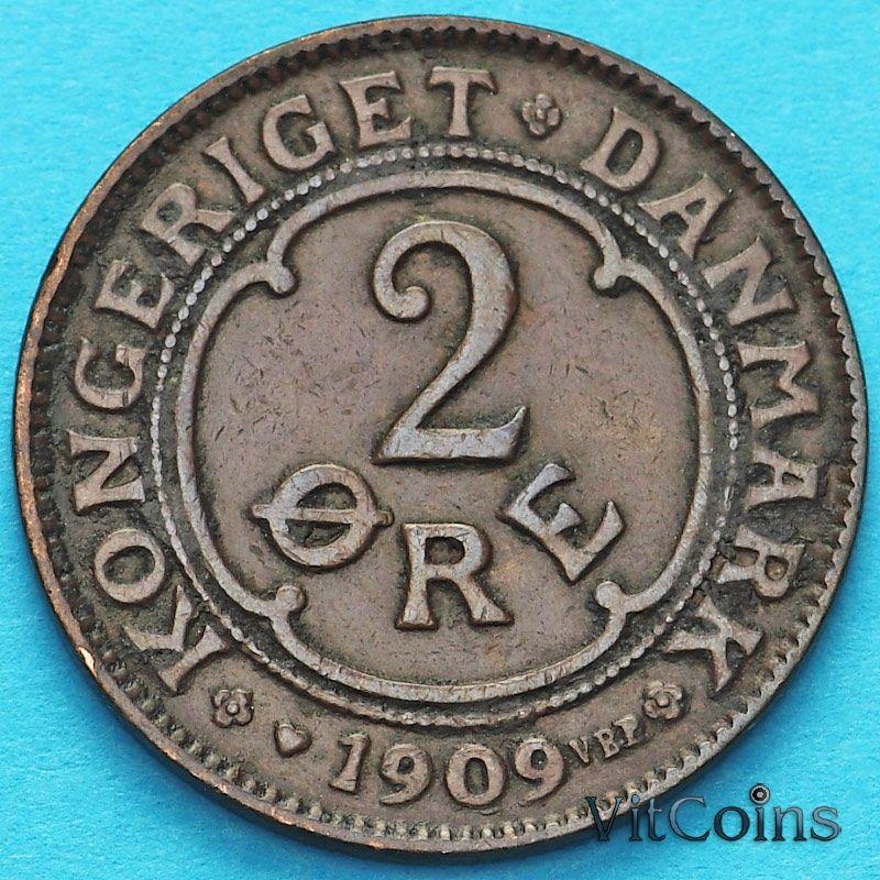 Монета Дания 2 эре 1909 год.