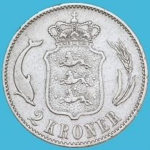 Дания 2 кроны 1875 год. Серебро.