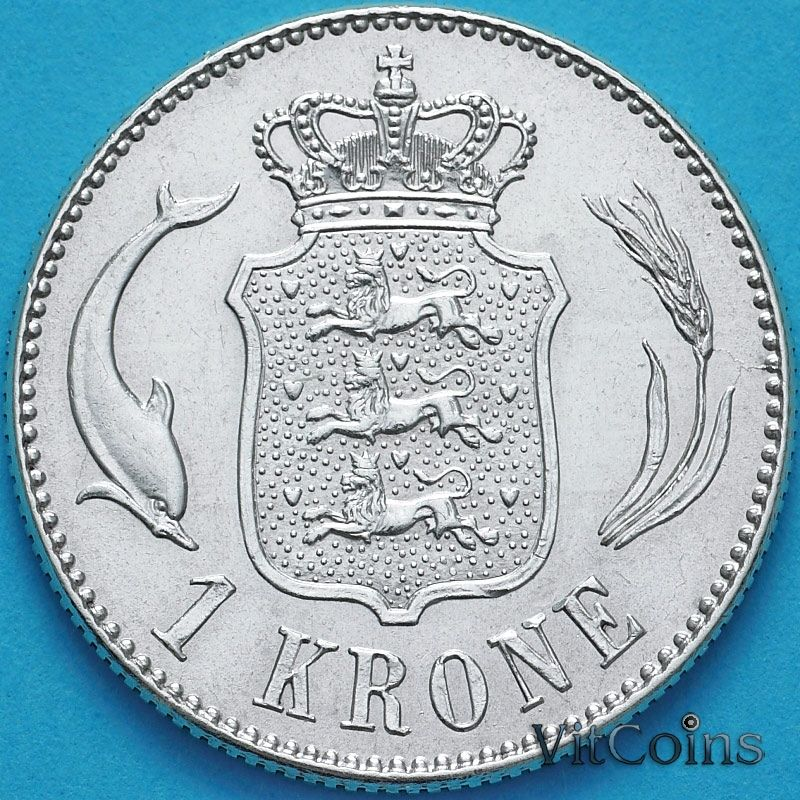 Монета Дании 1 крона 1915 год. Серебро.