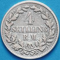 Дания 4 скиллинг-ригсмёнта 1854 год. Серебро.