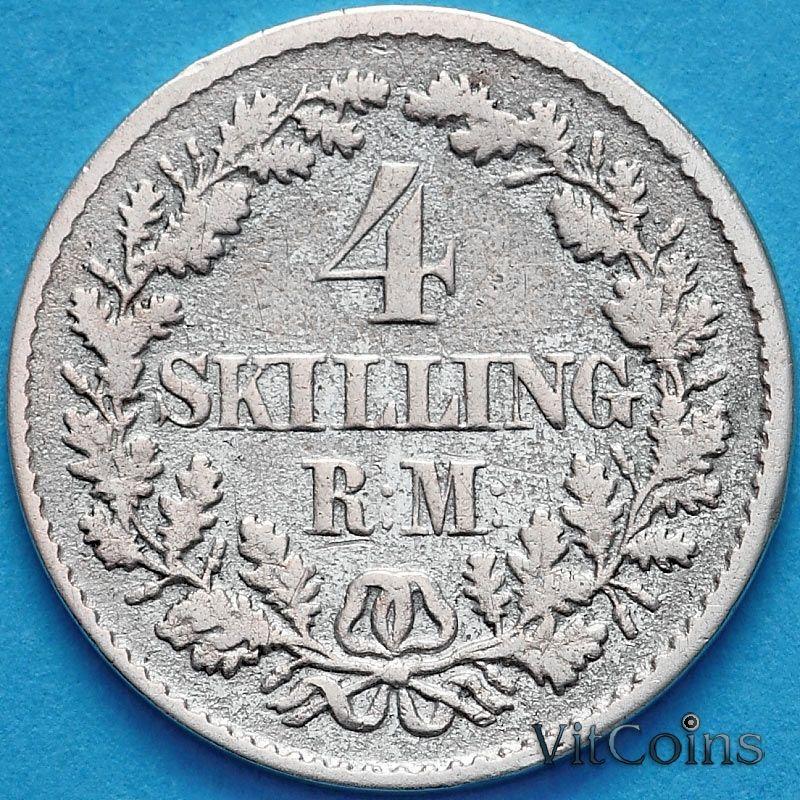 Монета Дания 4 скиллинг-ригсмёнта 1854 год. Серебро.