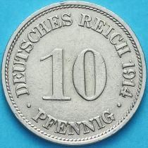 Германия 10 пфеннигов 1914 год. G.