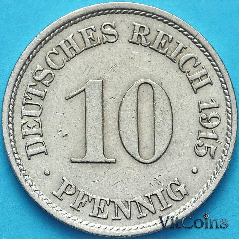 Монета Германия 10 пфеннигов 1915 год. F.