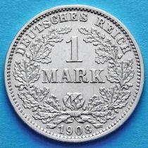 Германия 1 марка 1908 год. Серебро D.