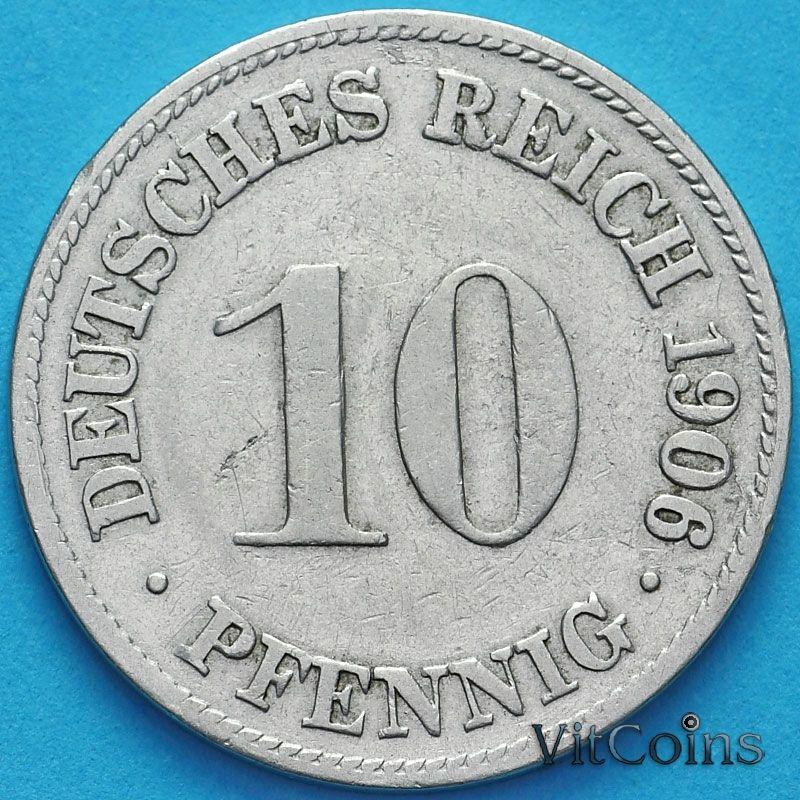 Монета Германия 10 пфеннигов 1906 год. D.
