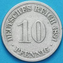 Германия 10 пфеннигов 1891 год. D.