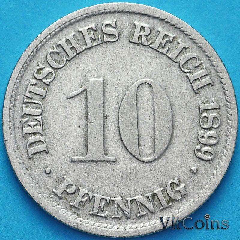 Монета Германия 10 пфеннигов 1899 год. D.