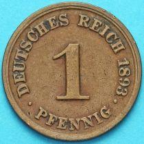 Германия 1 пфенниг 1893 год. D.