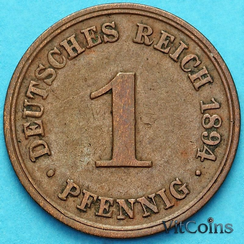 Монета Германия 1 пфенниг 1894 год. D.