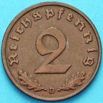 Германия 2 рейхспфеннига 1938 год. Монетный двор D.