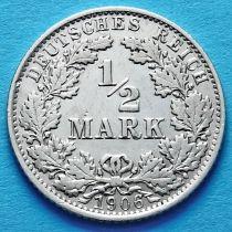 Германия 1/2 марки 1906 год. Серебро. Е.