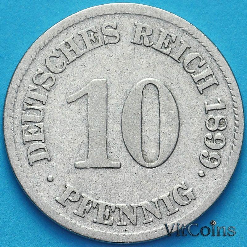 Монета Германия 10 пфеннигов 1899 год. Е.